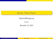 Beamer Theme Matrix